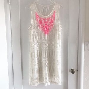 White Lace Dress with Hot Pink Embroidery